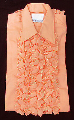 Men's True Vintage Peach Orange Ruffle Front Tuxedo Shirt 1970's Disco Costume