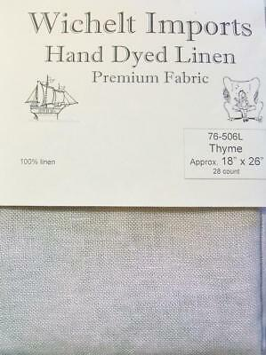 "Wichelt Hand Dyed 100% Linen Thyme 28 Ct 18"" x 26"" Cross Stitch Fabric"