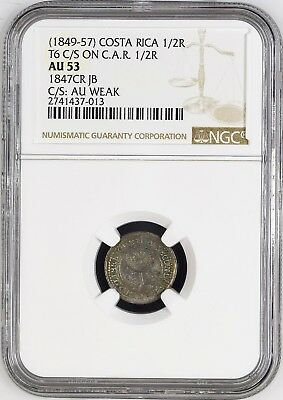 Costa Rica Silver 1/2 Real Type VI C/M (1849-57) on 1847JB 1/2 Real NGC AU 53