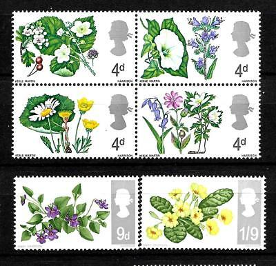1967 (E43) SG717p-22p FLOWERS  PHOSPHOR SETS OF 6 UNMOUNTED MINT