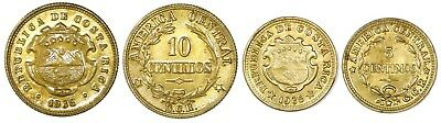 Costa Rica, Brass 10 and 5 Centimos (Lacquered), 1936, KM-174, -151