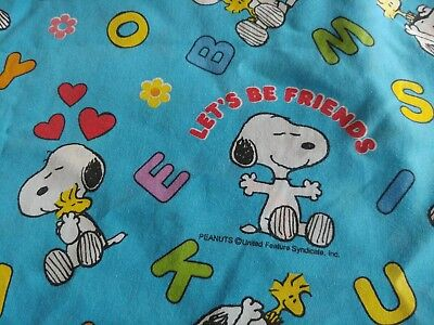 vintage Snoopy Woodstock flat twin sheet fabric Peanuts friends