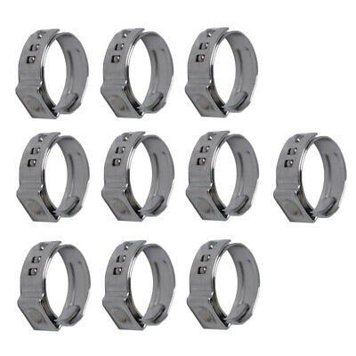 10Pcs Stainless Steel Single Ear Hose Clamps Hydraulic 10 x 12.8-15.3mm