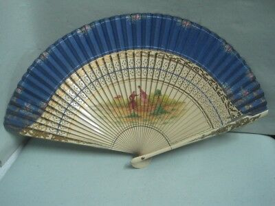 Antique  fan silk and wood with couple hand painted