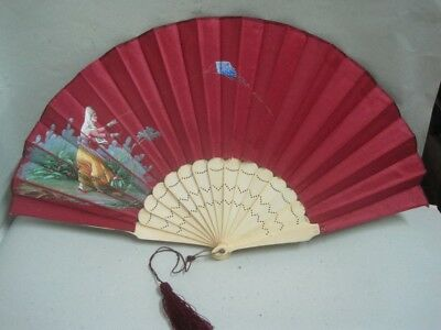 Antique fan silk with  a lady and flowers hand painted