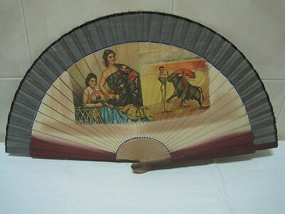 Antique  Fan in wood and tissue Sevillanas and bullfighter Spain