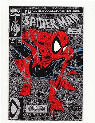 Spider Man #1 1990 Todd Mcfarlane $1.75 Black & Silver Variant Unread Marvel Key