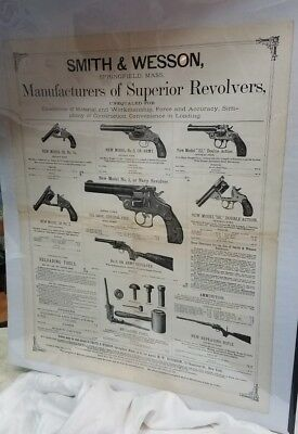 Antique Authentic 1883 Smith & Wesson Advertising Broadside Poster, Revolvers