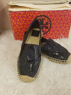 310e2fdd78f9 NIB Tory Burch Lonnie Espadrille Flat Shoe CHAMBRAY BLUE Canvas   Patent Sz  7