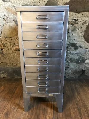 Vintage Industrial Stripped Metal 10 Drawer Filing Cabinet A4 Size Drawers