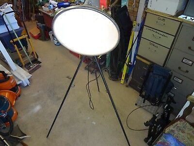 Floor Standing Industrial Light Converted To Take 100W Bulb.  On A Tripod Stand.