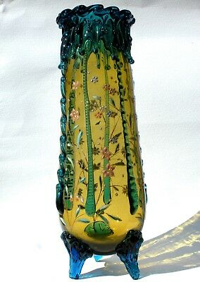 XL Antique Bohemian Enamelled Amber Glass Vase Applied Blue Feet/Rigaree Harrach
