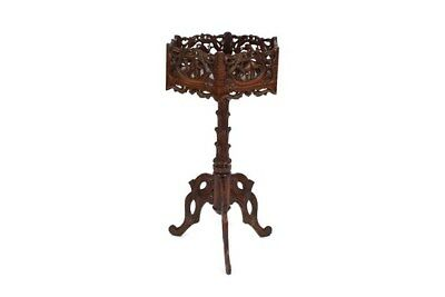 Large & Striking Beautifully Carved Mahogany Antique Stand Black Forest Deers