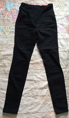 H&M Mama Maternity Skinny High Rib Black Jeans Denim Size 10 Euc