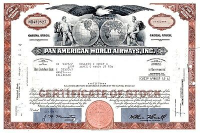 Pan American World Airways Incorporated 1960's-1970's Stock Certificate