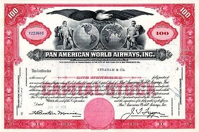 Pan American World Airways Incorporated 1950's-1960's Stock Certificate