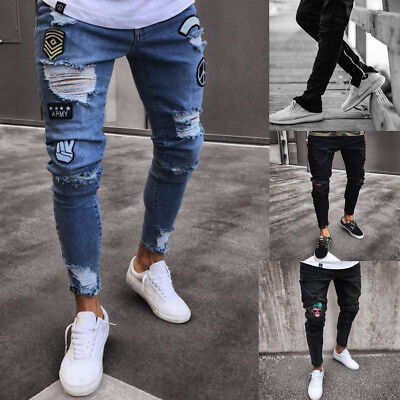 Mens Skinny Jeans Rip Slim fit Stretch Denim Distress Frayed Biker Jeans Boy UK