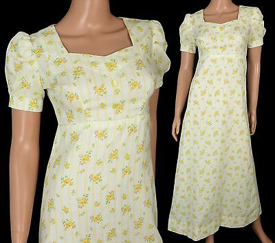 Vintage 60s 70s FLOWER CHILD MAXI DRESS Yellow Floral A-Line Sweetheart Empire