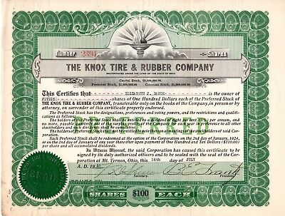 The Knox Tire and Rubber Company of Mt. Vernon, Ohio 1920-21 Stock Certificate