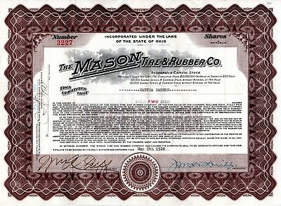The Mason Tire and Rubber Company of Ohio 1920 Stock Certificate - green