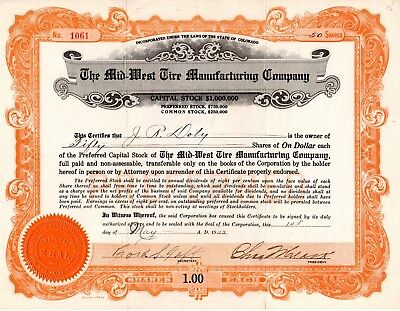 The Mid-West Tire Manufacturing Company of Colorado 1922 Stock Certificate