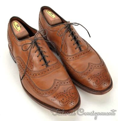 ALLEN EDMONDS McAllister Walnut Brown Solid Leather Mens Dress Shoes - 9.5
