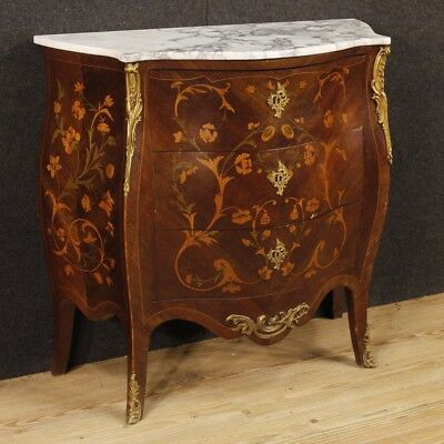 Dresser chest of drawers commode antique style Louis XV French inlaid furniture