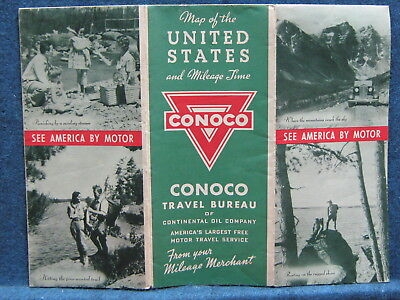 1930s Conoco Road Map Of United States & MileageTime