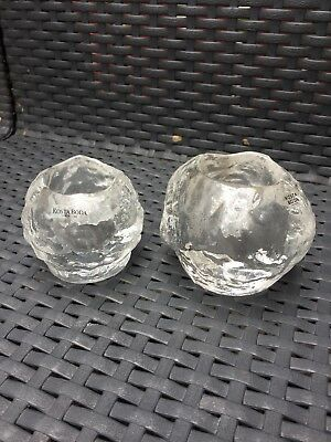 Kosta Boda Glass: Two Snowball Candleholders