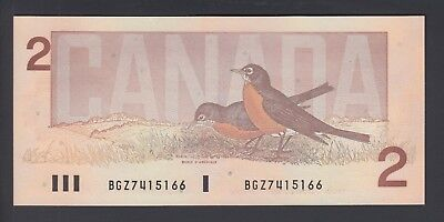 1986  $2 Dollars UNC - Thiessen Crow - Prefix BGZ - Bank of Canada - F236