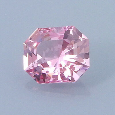 AMERICAN CUT .33 Ct. Barion Emerald Cut Strongly Fluorescent Pink Spinel