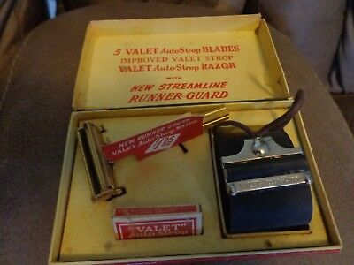 Antique Valet Autostrop Safety Razor Set in Box with Strop - New Blade