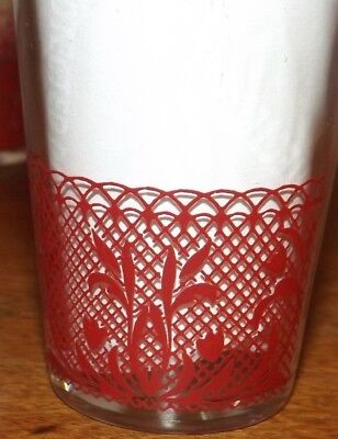 Set of 5 Vtg Red Kraft Cheese Swanky Swig Juice Glasses Red Heart Tulips Lace