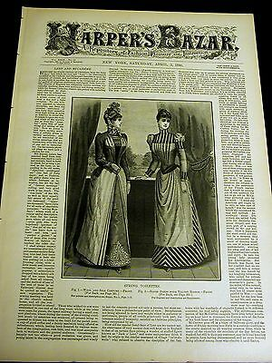 Harper's Bazar 4-5-1890 Very Fine w VICTORIAN GIRLS LADIES GOWN PATTERNS Quoits