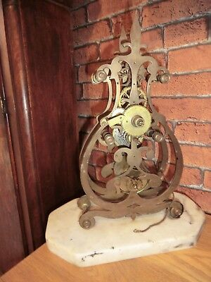 Skeleton mantle Clock for spare or repair (bent frame)