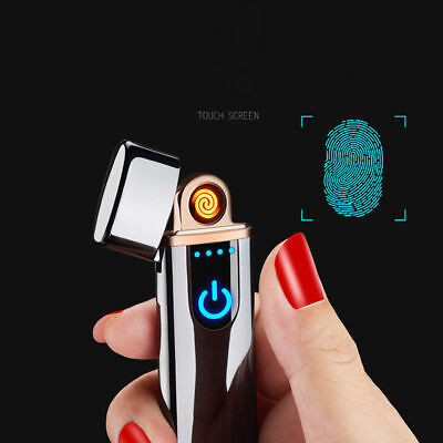 SILVER USB Rechargeable Electric LIGHTER Double ARC PULSE Flameless Plasma Torch