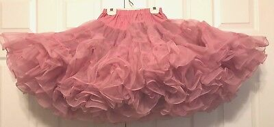 """Square Dance Petticoat Dusty Rose Pink """"malco Modes"""" Small Adjustable 20"""" - 17"""""""