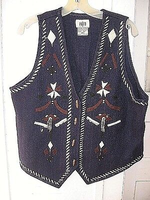 LOVELY VINTAGE 1970s BEADED NAVY BLUE WOOL ETHNIC VEST- PASTA MADE IN INDIA - M