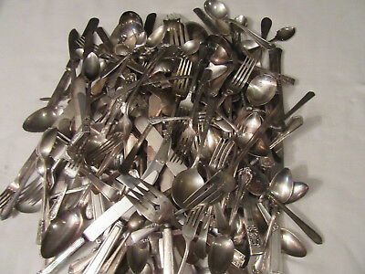 Vtg Silverplate Flatware Mixed Lot, 17 lbs, 193 pieces, Arts Crafts, Use