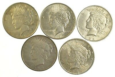 Lot of 5 1922 or 1923 Peace Silver Dollars - 90% Silver - Coin Collection *797