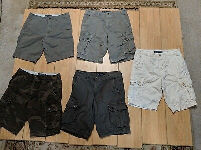 American Eagle Outfitters Mens Size 31 Cargo Shorts Lot of 5 White Gray Camo EUC
