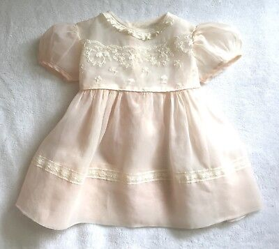 True Vintage 1950's Baby Dress Sheer Pink Nylon With Lace & Bow Single Owner