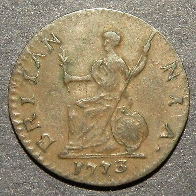 1773 Revolutionary War Colonial US 13 Colonies Copper Coin XF Britain Colony Lot