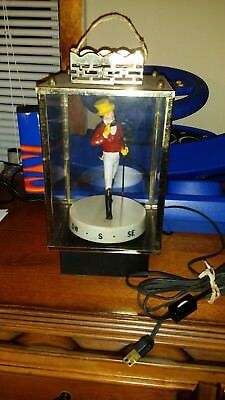 Rare Vintage Johnnie Walker Red Back Bar Lighted Rotating Statue Compass Base