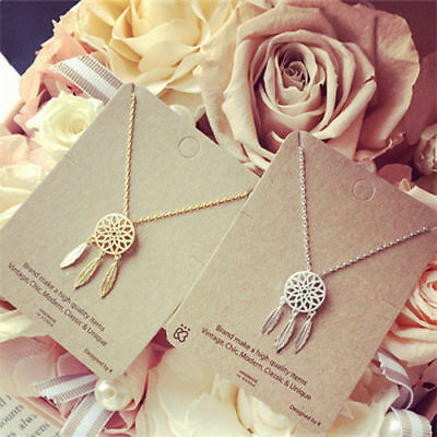 Women Dreamcatcher Long Chain Pendant Necklace Silver Gold Plated Feather Choker