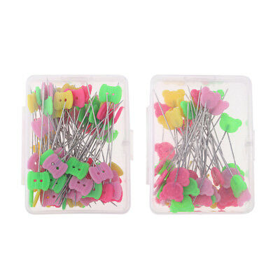 """50 / 80 Pack Boxed Flat Head Pins Long 2"""" Quilting Dressmaking Sewing Crafts"""