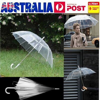 Clear Transparent Rain Umbrella Parasol Plastics Dome Wedding Party Favor 75cm d