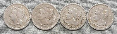 Lot Of 4 Three Cents(3c) Nickels - 1865, 1866, 1867 & 1873