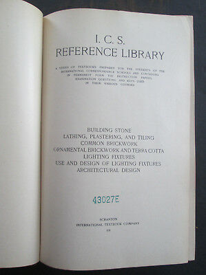 8 Volumes - 1909 I C S Reference Library - Architecture Design Light Fixtures