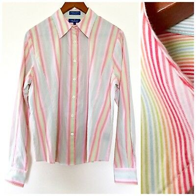 9174aabe5545dd Faconnable Womens Rainbow Pin Striped Button Down Dress Shirt Blouse Top  Large